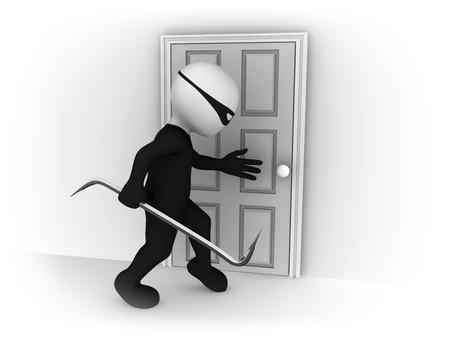 3D kleine Leute. Kriminelle und geschlossene Tür.