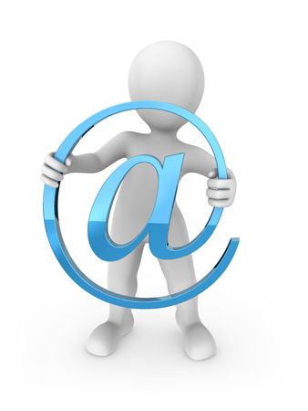 3d rendered white human with email symbol. 3d rendered illustration.