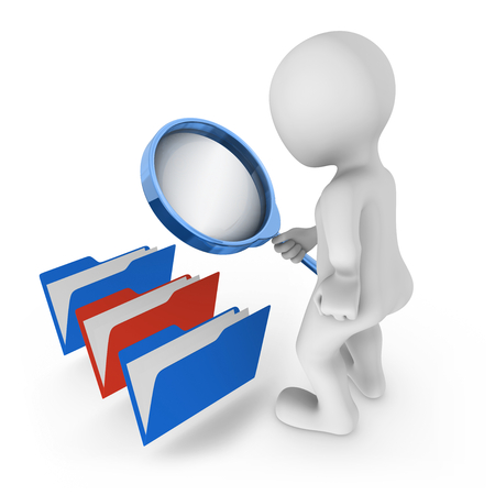3d man with magnifying glass looks at folders. Choice concept. 3d rendered illustration.