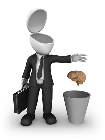 3d small business people. 3d businessman throws out the brain in a recycle bin. 3d illustration.