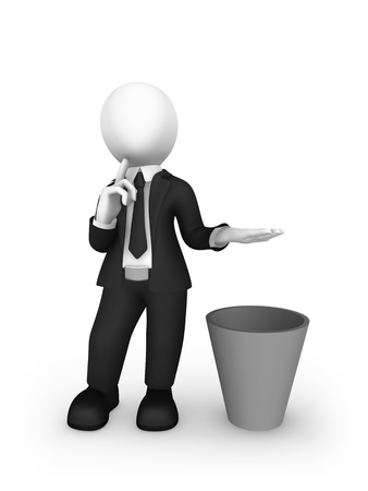 3d business people. Businessman holds something yours over a recycle bin and thinks whether it is worth throwing out it or not.... Choice concept. 3d illustration.