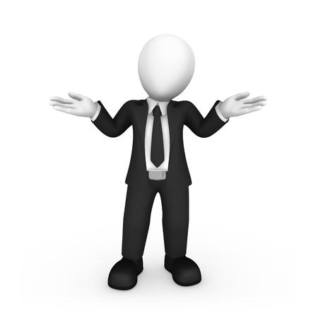 """Gente de negocios 3d. 3d hombre de negocios en suite negra dice """"No sé"""". Pose de confusión. Ilustración 3D."""