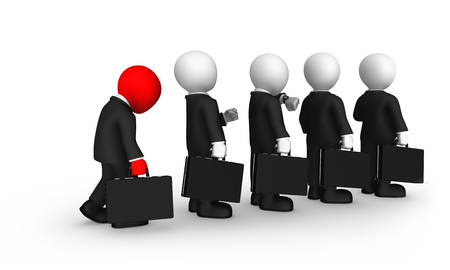 3d small business people. The sad red businessman stands in a queue. 3d illustration. Stockfoto