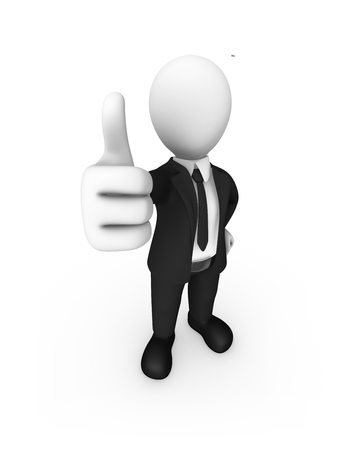 3d white businessman shows thumb up. 3d rendered illustration.