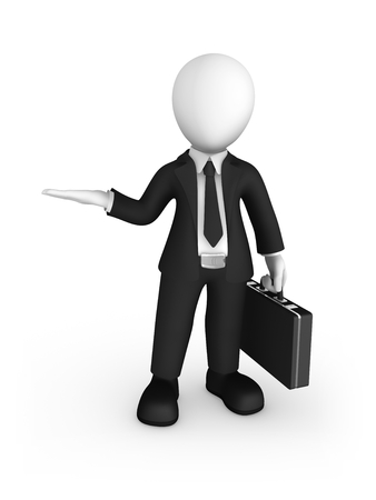 3d business people. Businessman in black suite with briefcase in hand hold something yours in hand and thinks. 3d illustration.