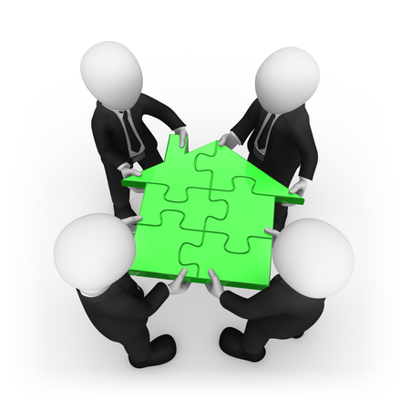 White business people with home puzzle. 3d rendered illustration. Stockfoto