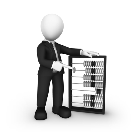 3d businessman pointing finger at abacus. 3d illustration.