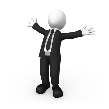 Happy 3d businessman rejoices to the success. 3d illustration.