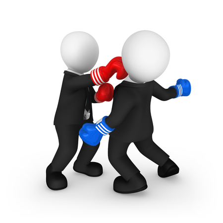 3d business people as boxers. Hard punch. Competition concept. 3d illustration.