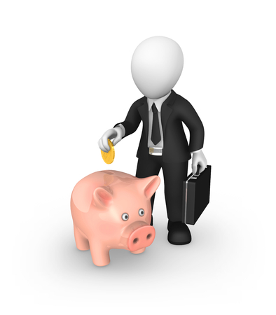 3d white businessman puts money into a piggy bank. 3d illustration. Stok Fotoğraf