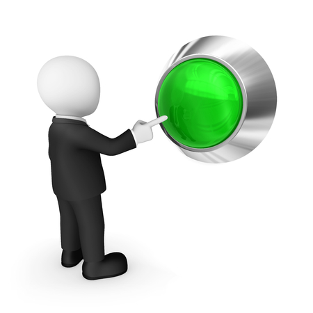 3d business people. Businessman in black suite presses the big green button. Choice concept. 3d illustration. Stok Fotoğraf