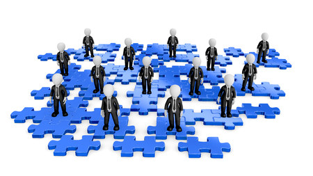 3d business people standing on puzzles. 3d illustration.