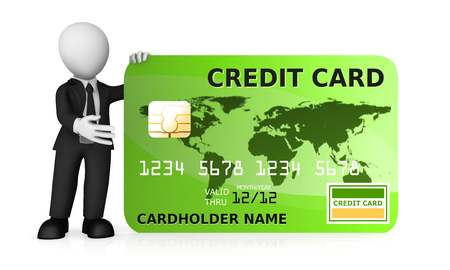 3d person and green credit card isolated on white background. 3d illustration.