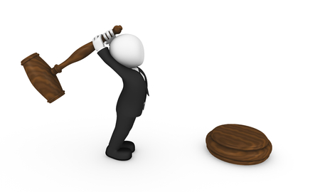 3d business people. Businessman in black suite with big hammer in hands finishes the auction. 3d illustration.