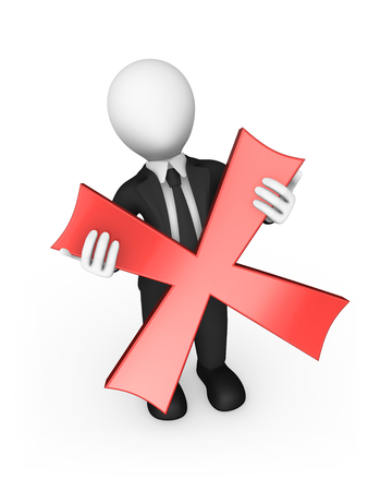 3d business people. Businessman a negative symbol (red cross) in hands. 3d illustration. Stok Fotoğraf