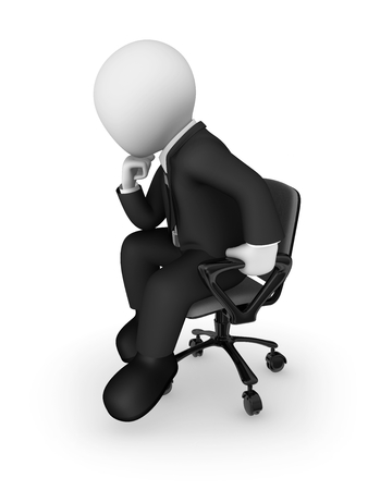 3d businessman sits on a office chair and thinks. 3d illustration. Stok Fotoğraf