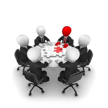 3d people on the circle table with puzzle, leadership concept. 3d illustration.