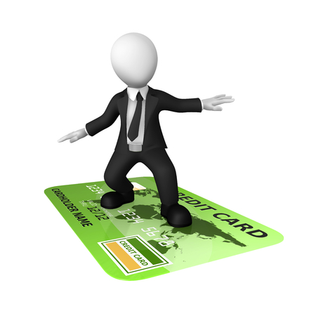 3d man and green credit card isolated on white background. 3d illustration.