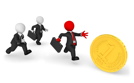 3d business people. Pursuit, red leader and golden coin. Competition concept. 3d illustration. Stok Fotoğraf