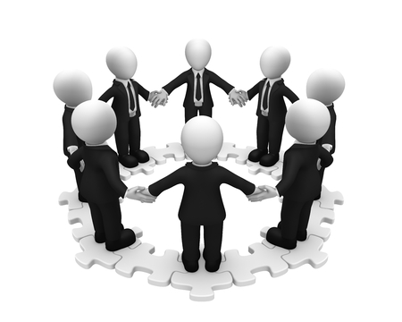 3d business people standing on circle puzzle. 3d illustration.