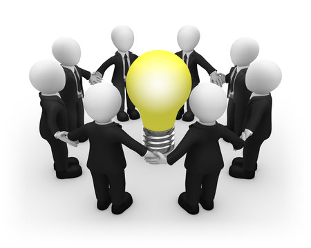 3d business people keep their hands around the bulb. New idea. Teamwork concept. 3d illustration. Stok Fotoğraf
