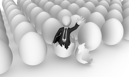 3d business people. Businessman in black suite with briefcase in hand was born from egg. 3d illustration.