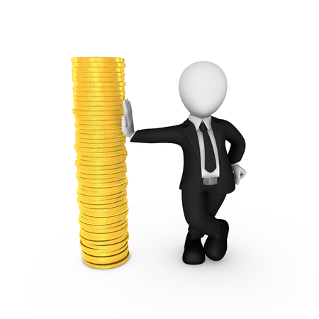 3d man with golden coins isolated on white background. 3d illustration.