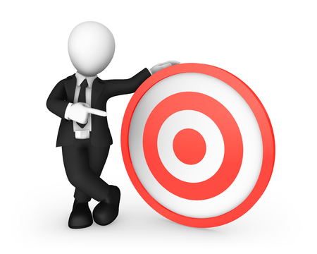 3d white businessman pointing finger at red target. 3d illustration.