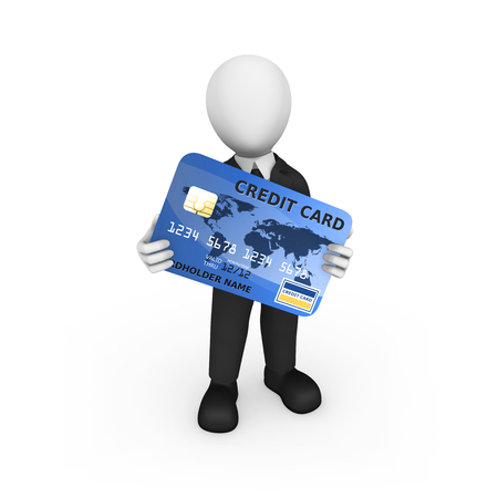 3d man with blue credit card in hands. 3d illustration.