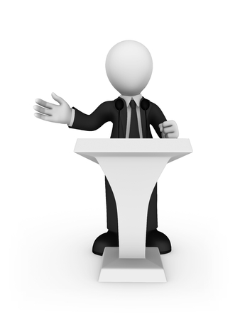 3d white businessman speaking from tribune. 3d illustration.