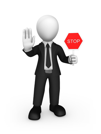 3d rendered white businessman shows stop sign. 3d rendered illustration. Stok Fotoğraf