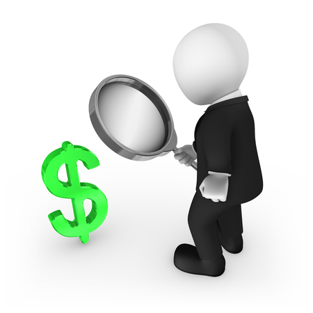 3d man with magnifying glass looks at dollar symbol. 3d rendered illustration.