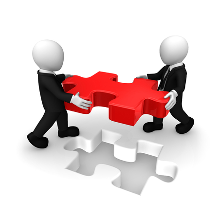 Business people working with red puzzle. 3d rendered illustration. Stok Fotoğraf
