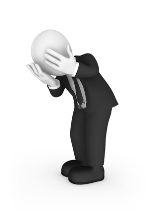 3d unhappy businessman cry. 3d illustration.