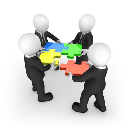 Business people working with puzzles. 3d rendered illustration.