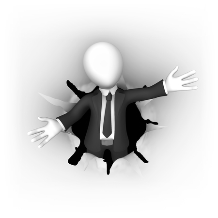 3d business people. Businessman in black suite leaving the hole in the paper in welcome pose. 3d illustration.
