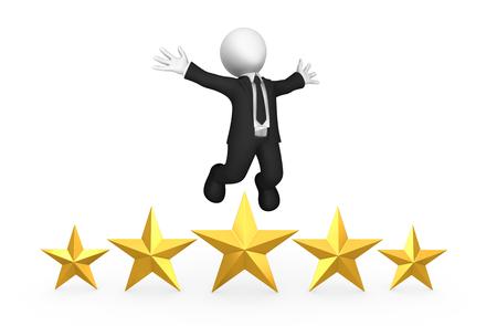 3d white business man with five golden stars, happy winner. 3d illustration. Stock Photo
