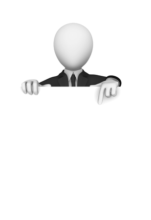 3d business people. Businessman pointing finger to empty white board. 3d illustration.
