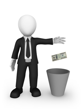 3d white businessman throws money into a recycle bin. 3d illustration. Stock Photo