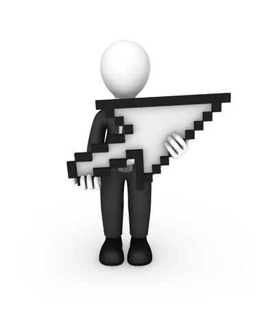 3d white man with mouse cursor. 3d illustration.