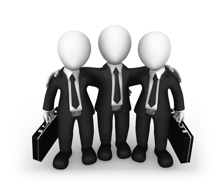 group of 3d rendered white business people isolated on white background. 3d illustration. Stock Photo