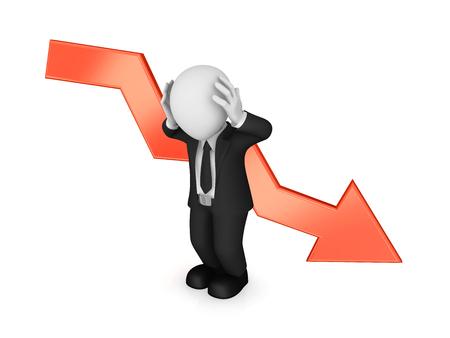 3d businessman and red arrow. Crisis. 3d illustration.