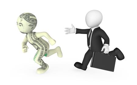 3d businessman pursues dollar cartoon character. 3d illustration. Stock Photo