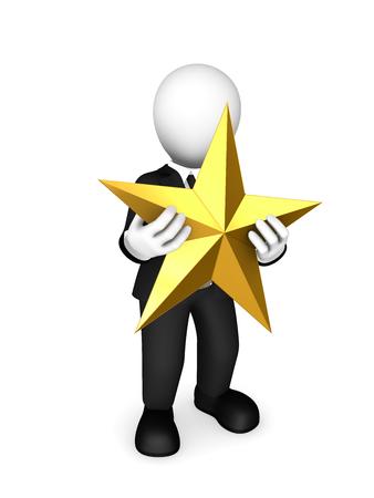 3d businessman with golden star. 3d illustration. Stock Photo