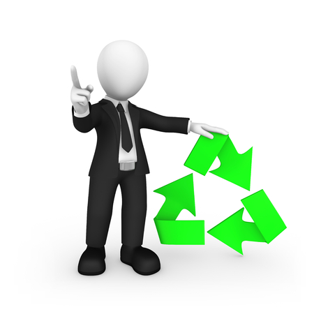 3d business people. Businessman with green recycling symbol shakes finger. Ecology concept. 3d illustration.