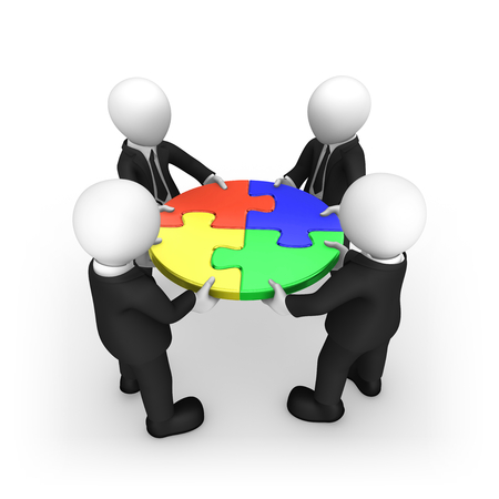 Business people working as a team with colored jigsaw puzzle. 3d illustration.
