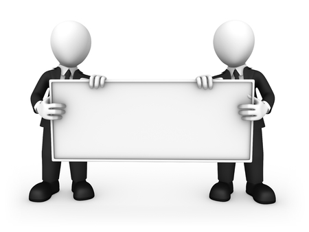 3d business people with empty board in hands. 3d illustration.