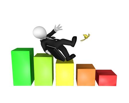 Bankruptcy concept. 3d businessman going down... 3d illustration.