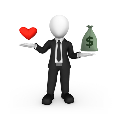 3d white man with heart and money bag. Choice concept. 3d illustration.