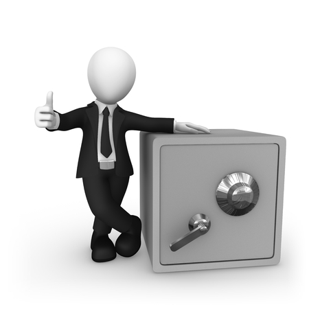 3d small people. Bank safe and thumbs up gesture. 3d illustration.